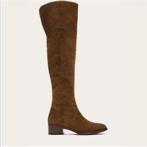 Frye Ray Brown Grommet Thigh High Boots